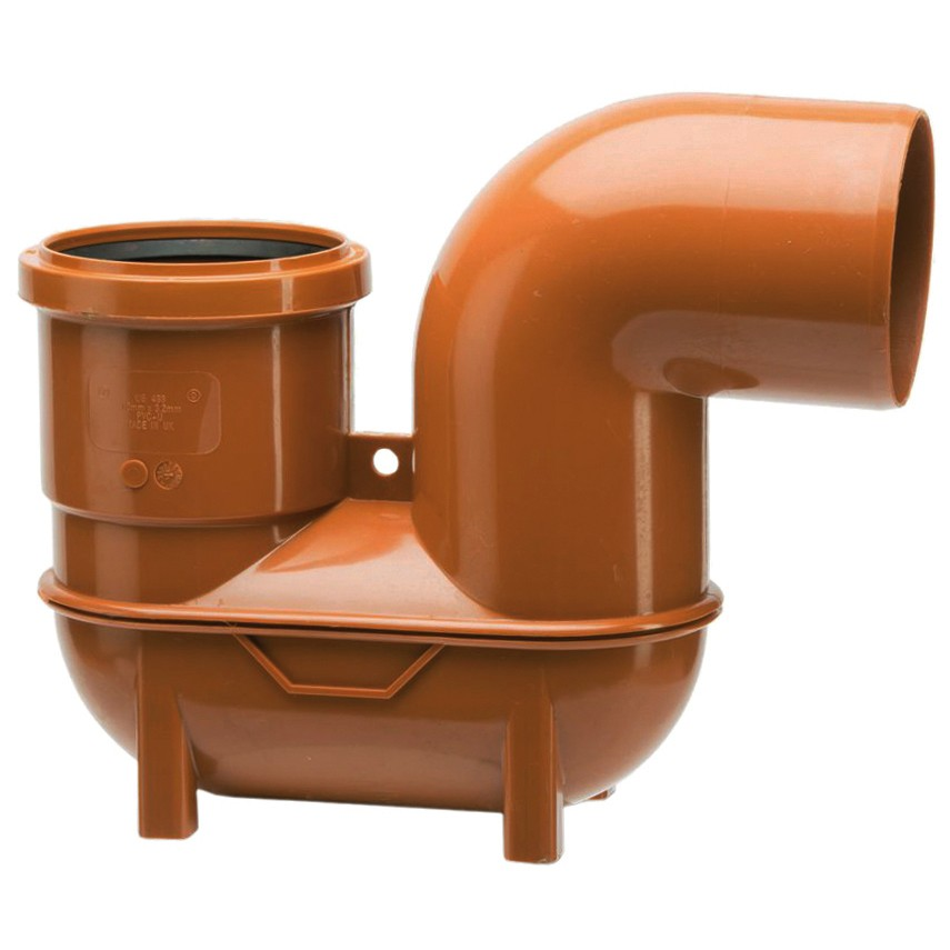 Polypipe 110mm Underground Low Back P Trap - Terracotta