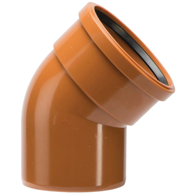 Polypipe 110mm Underground Single Socket 30 Degree Short Radius Bend - Terracotta