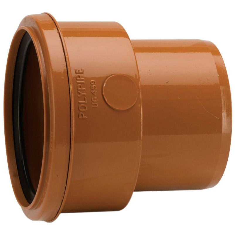 Polypipe 110mm Underground Socket Super Clay to PVC Spigot Pipe Adaptor - Terracotta