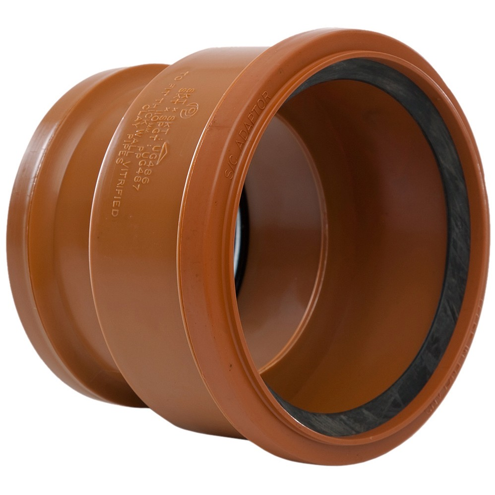 Polypipe 110mm Underground to Thick Clay Pipe Socket Adaptor - Terracotta