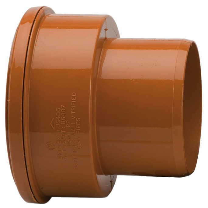 Polypipe 110mm Underground to Thick Clay Pipe Spigot Adaptor - Terracotta