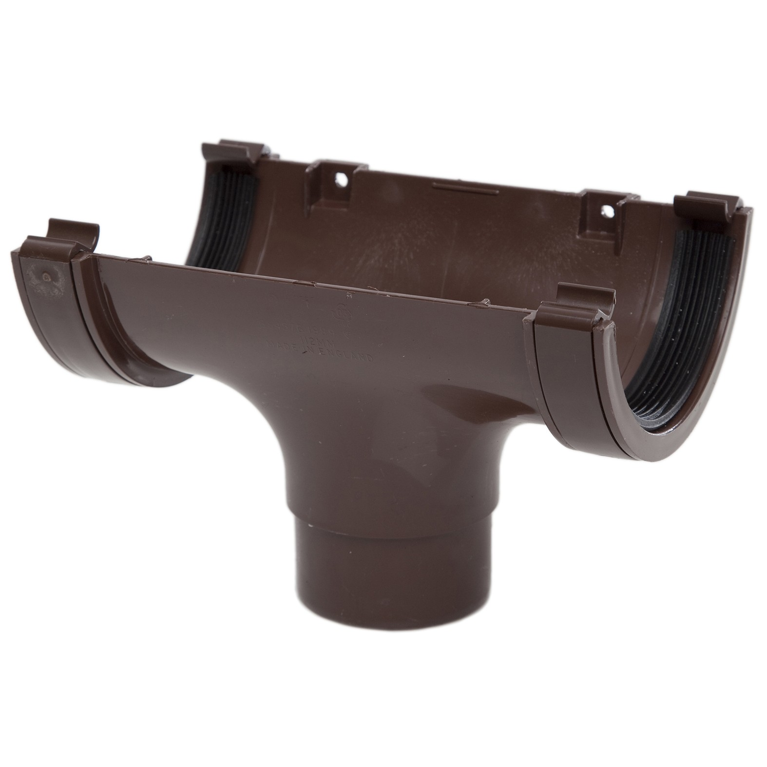 Polypipe 112mm Half Round Gutter Running Outlet - Brown