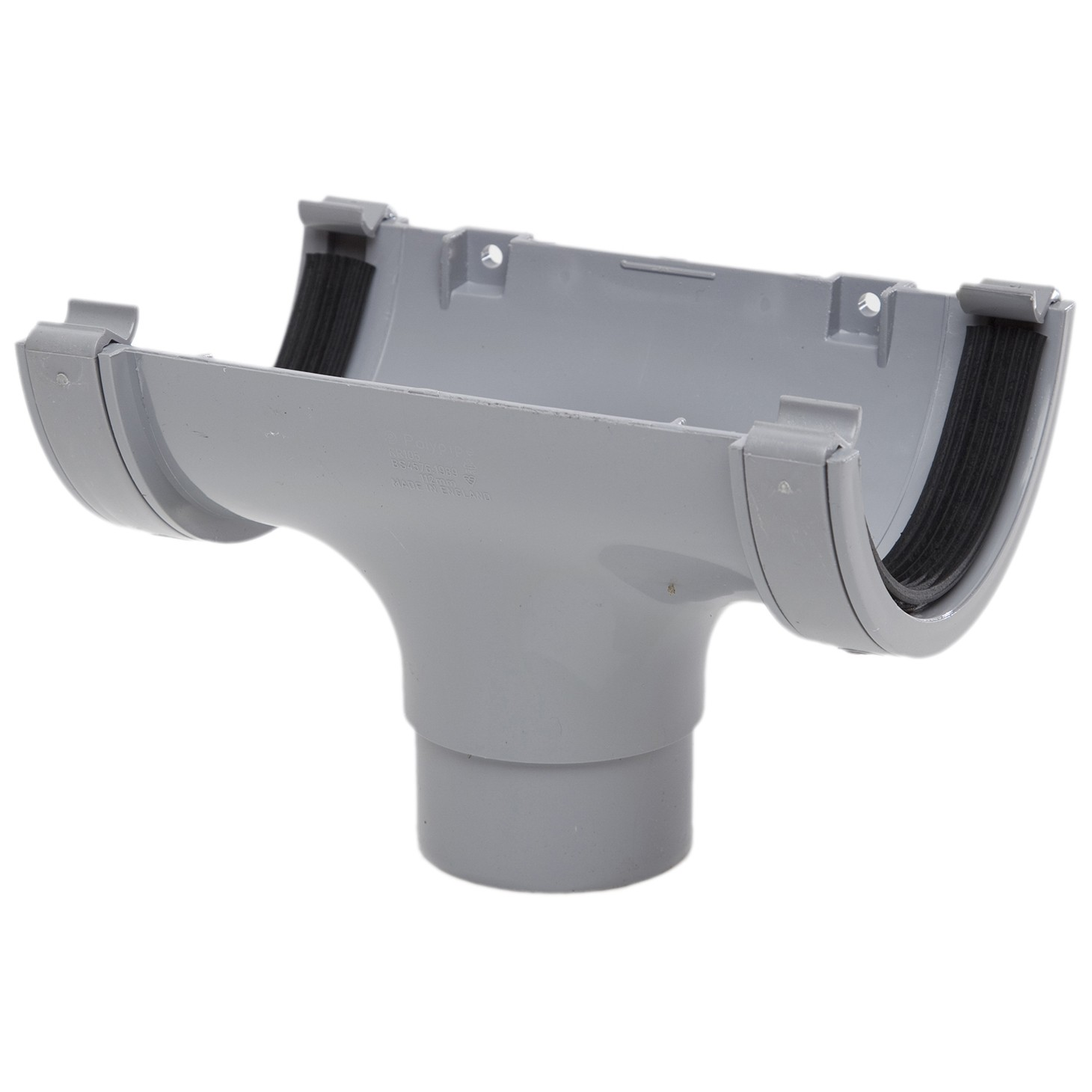 Polypipe 112mm Half Round Gutter Running Outlet - Grey