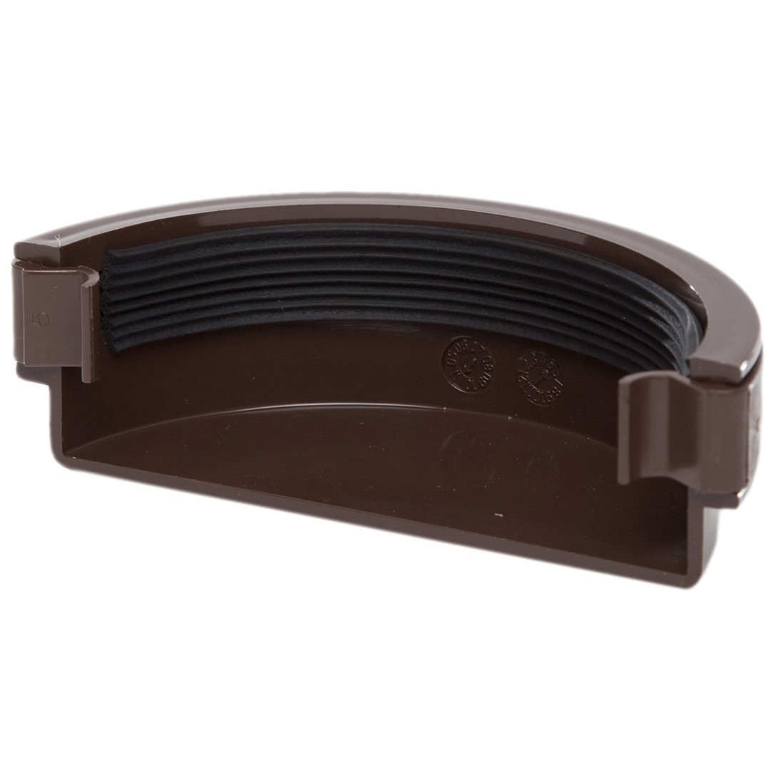 Polypipe 112mm Half Round Gutter Stop End (External) - Brown