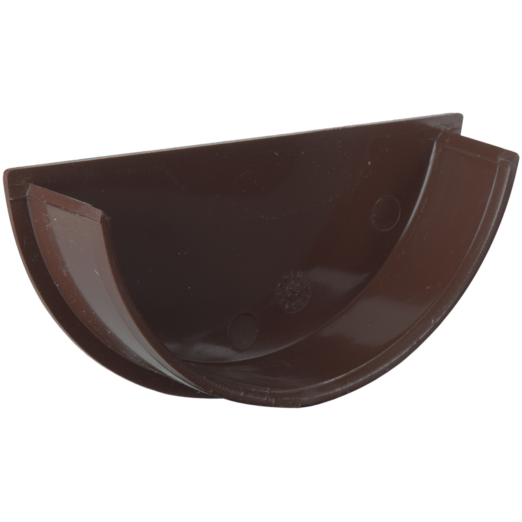 Polypipe 112mm Half Round Gutter Stop End (Internal) - Brown