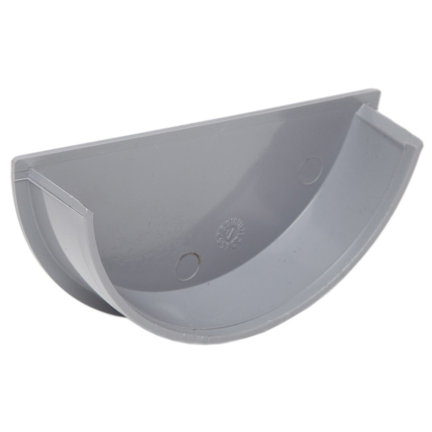 Polypipe 112mm Half Round Gutter Stop End (Internal) - Grey