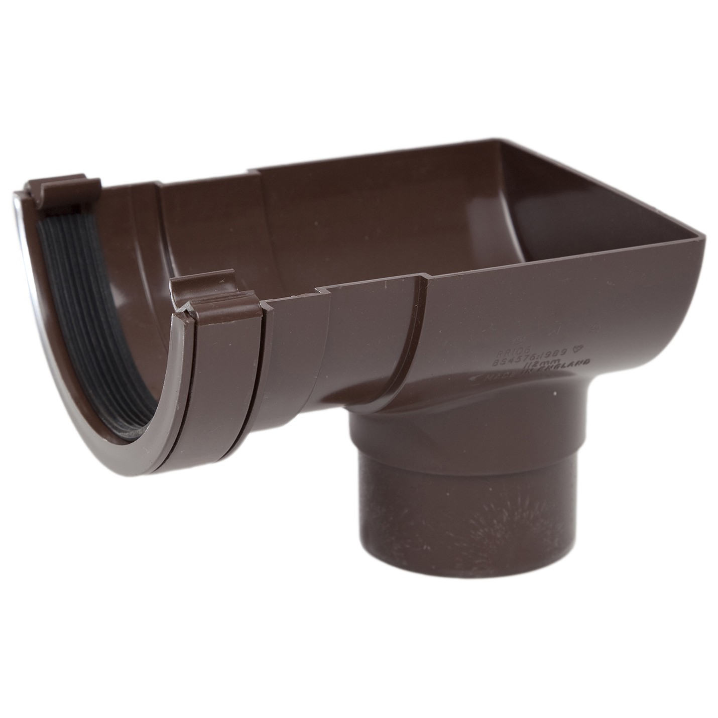 Rr106br Polypipe 112mm Half Round Gutter Stop End Outlet