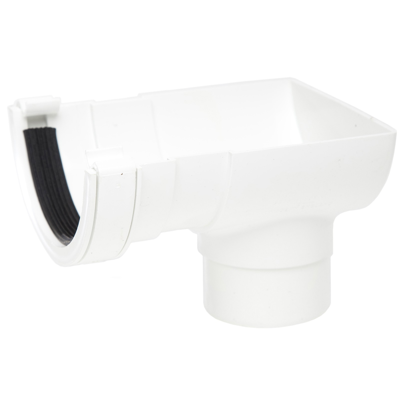 Polypipe 112mm Half Round Gutter Stop End Outlet - White