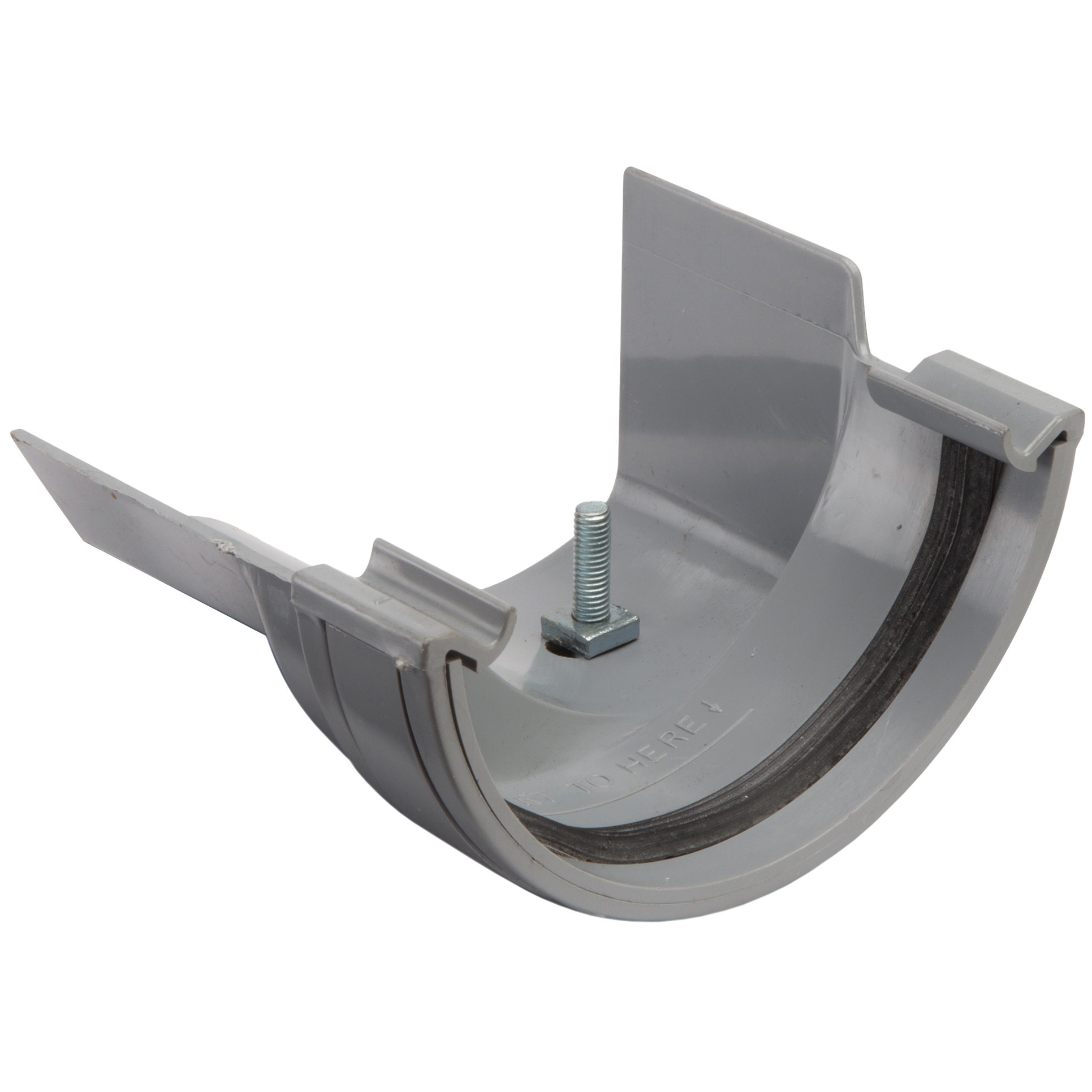 Polypipe 112mm Half Round to Metal 130mm Ogee Gutter Adaptor (Left Hand) - Grey