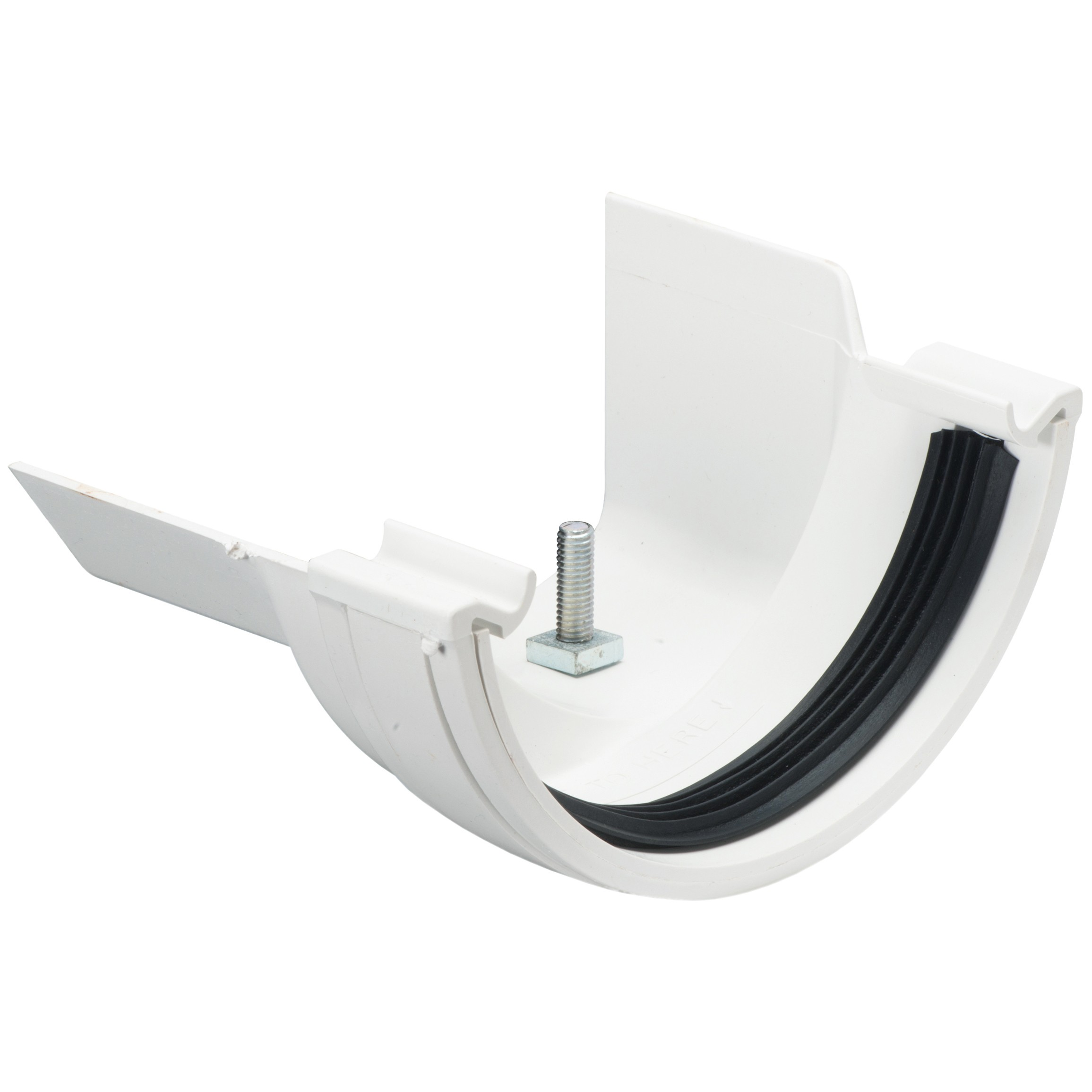 Polypipe 112mm Half Round to Metal 130mm Ogee Gutter Adaptor (Left Hand) - White
