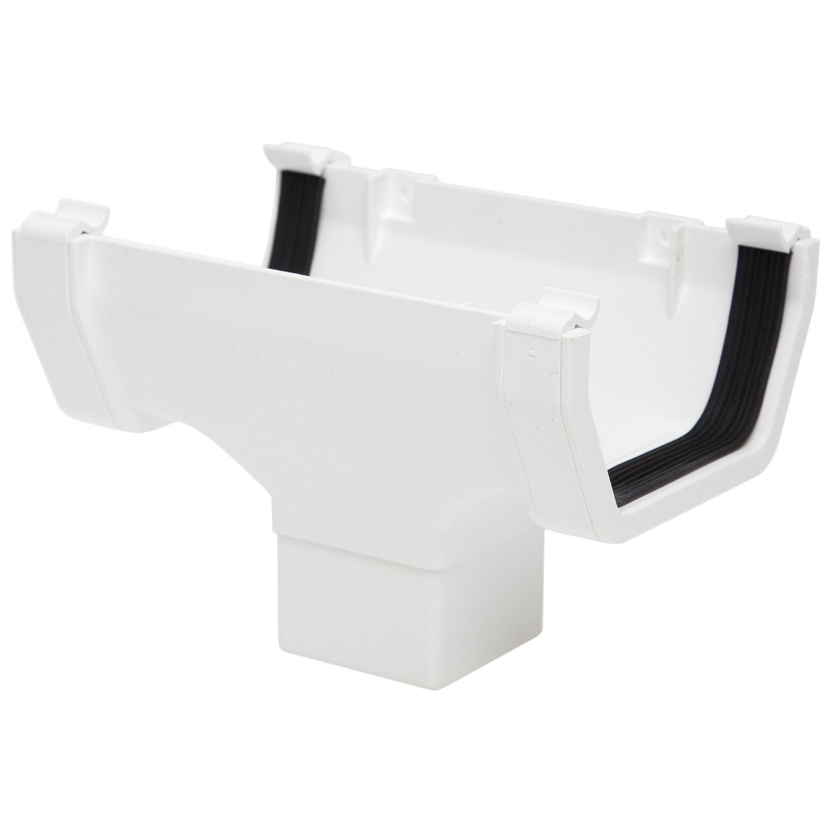 Polypipe 112mm Square Gutter Running Outlet - White