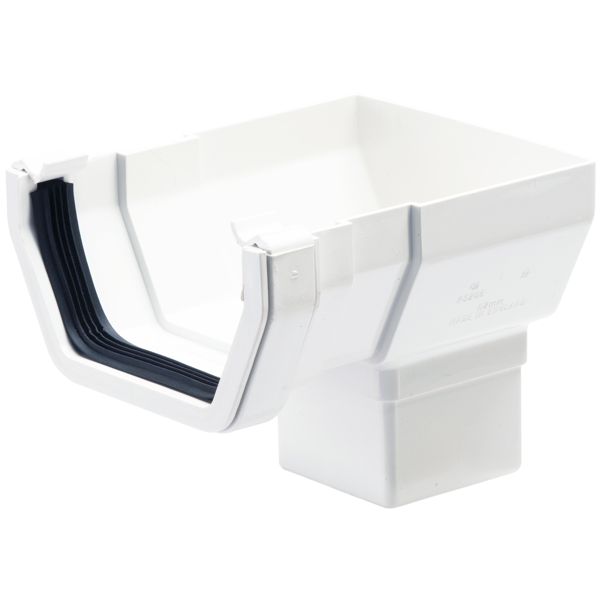 Polypipe 112mm Square Gutter Stop End Outlet - White