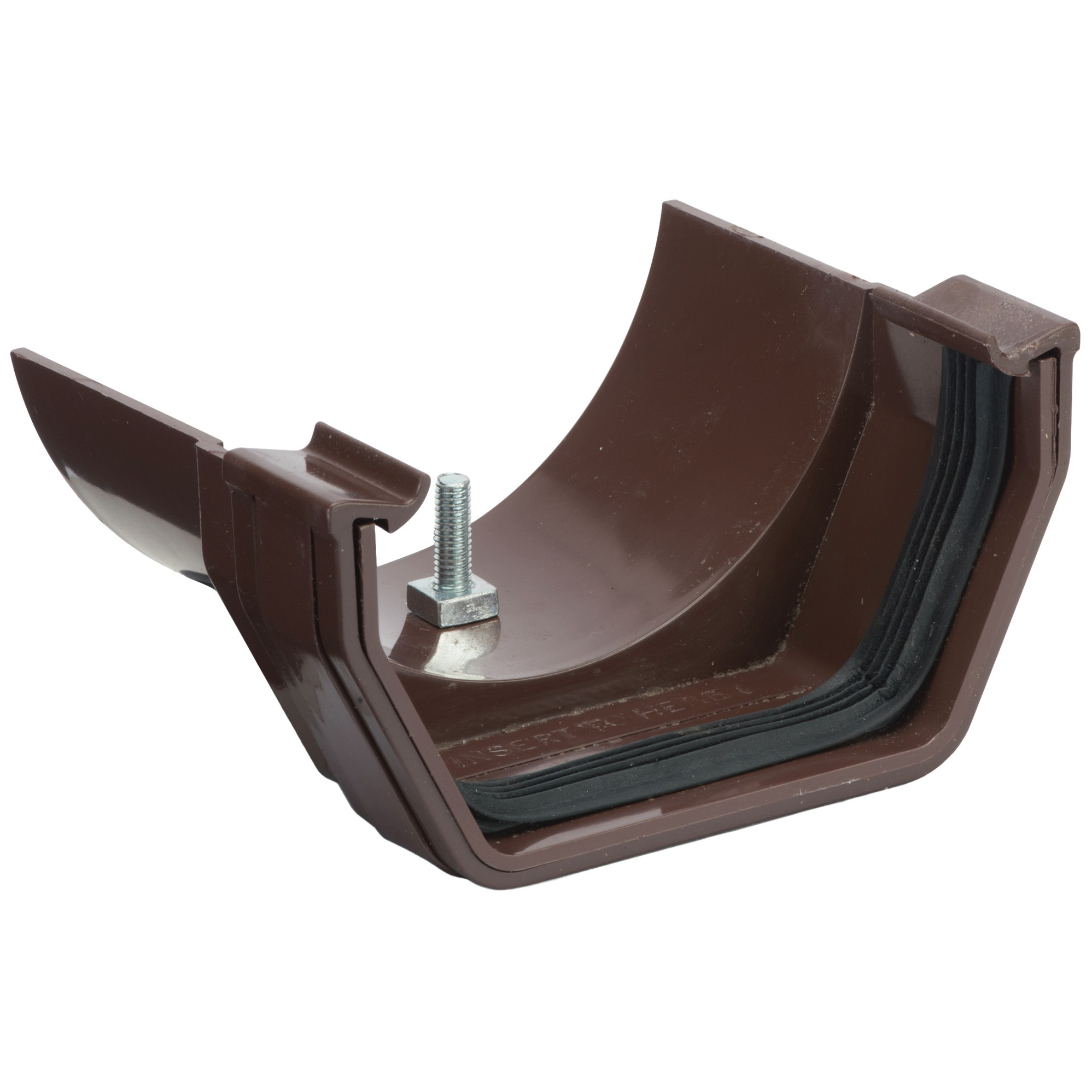 Polypipe 112mm Square to 112mm Half Round Gutter Adaptor - Brown