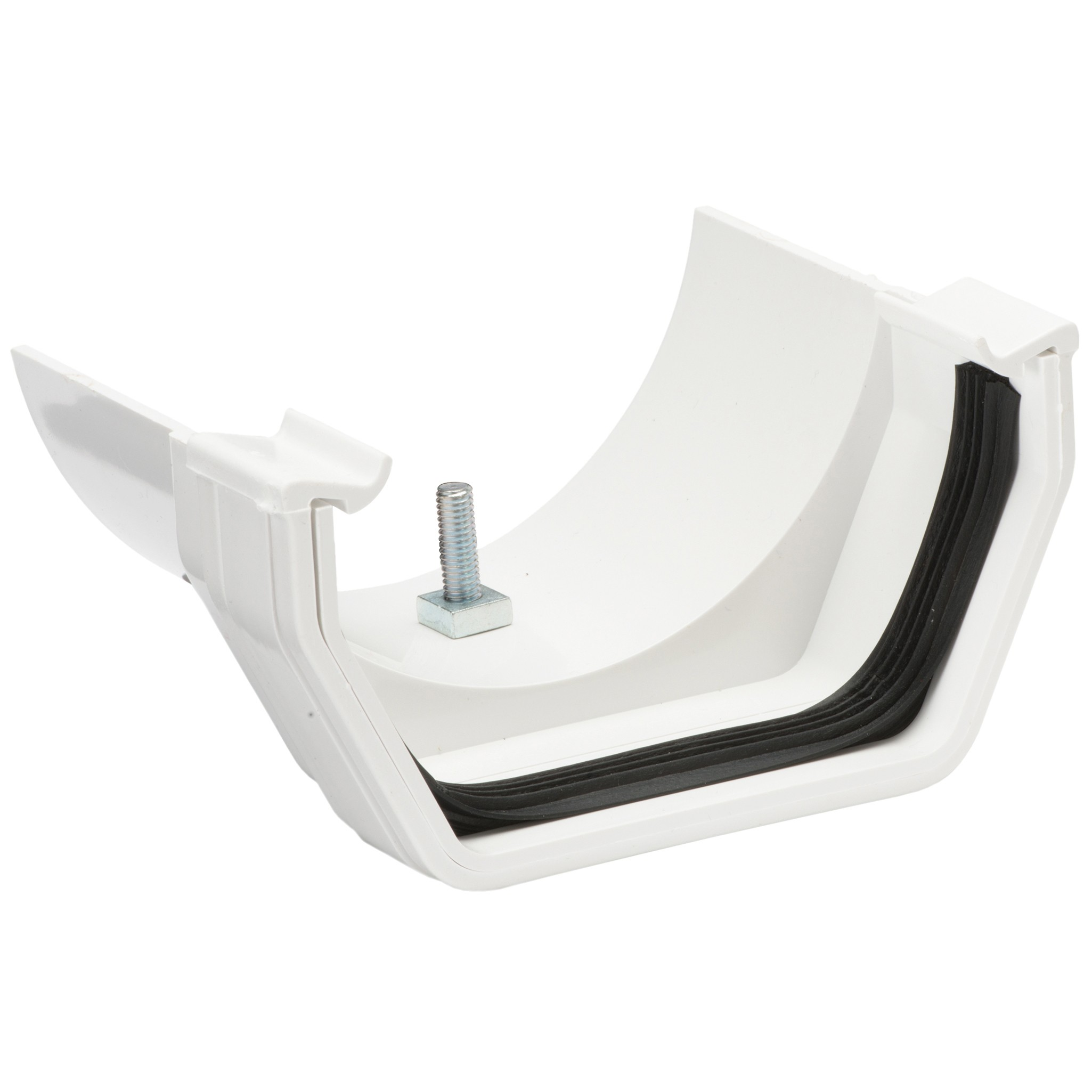 Polypipe 112mm Square to 112mm Half Round Gutter Adaptor - White