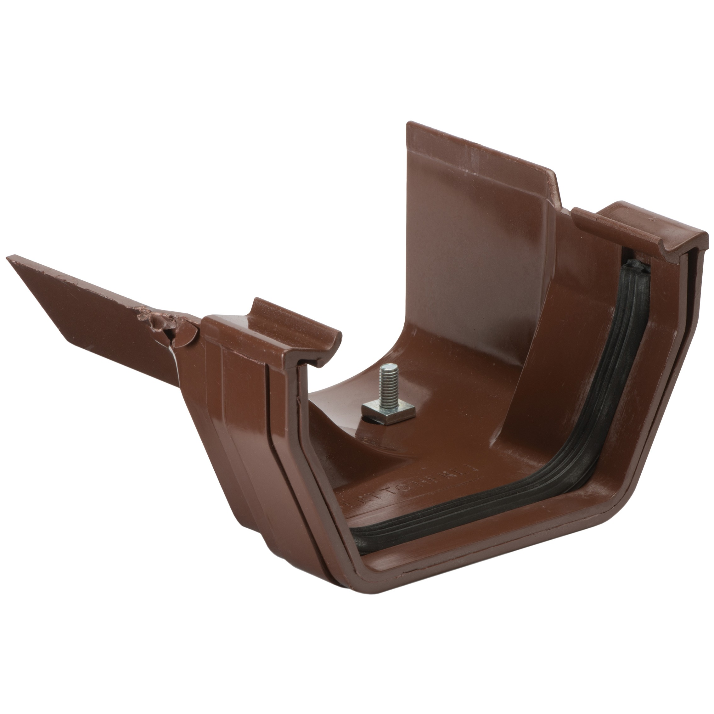 Polypipe 112mm Square to 130mm Metal Ogee Gutter Adaptor (Left Hand) - Brown