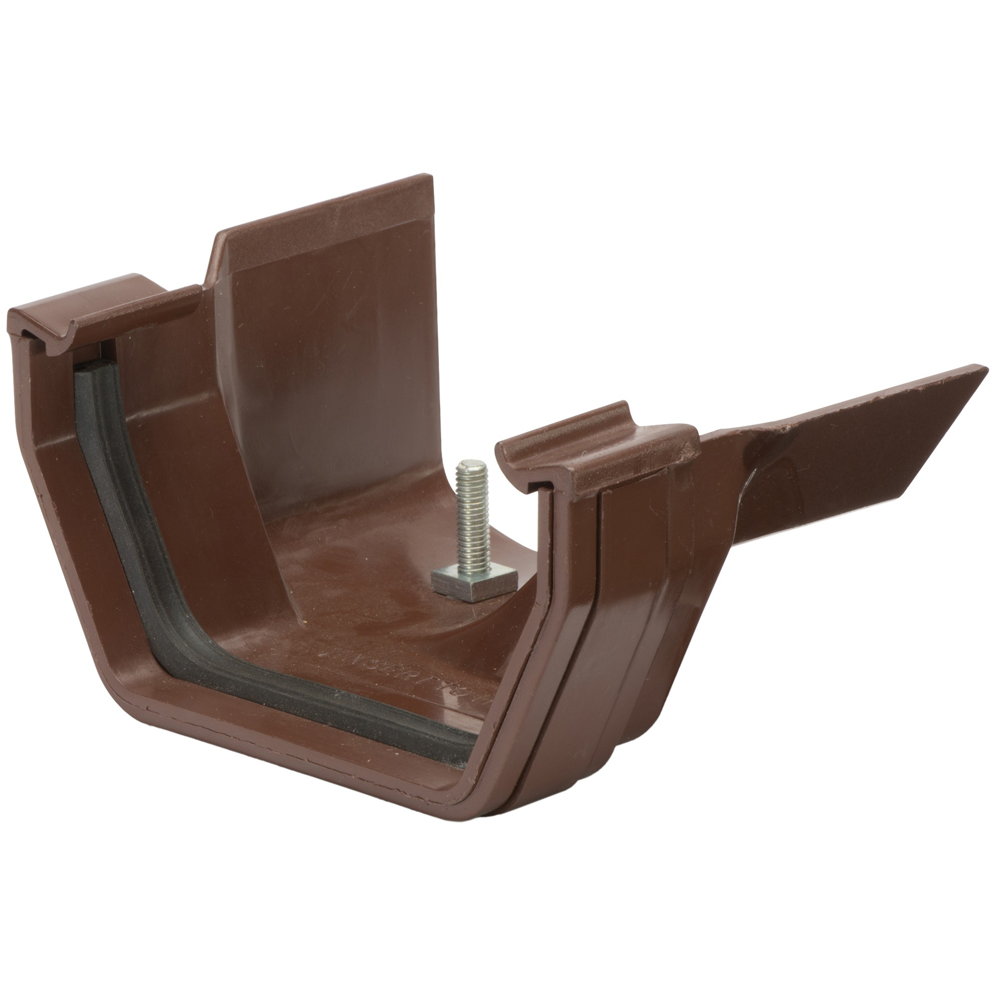 Polypipe 112mm Square to 130mm Metal Ogee Gutter Adaptor (Right Hand) - Brown