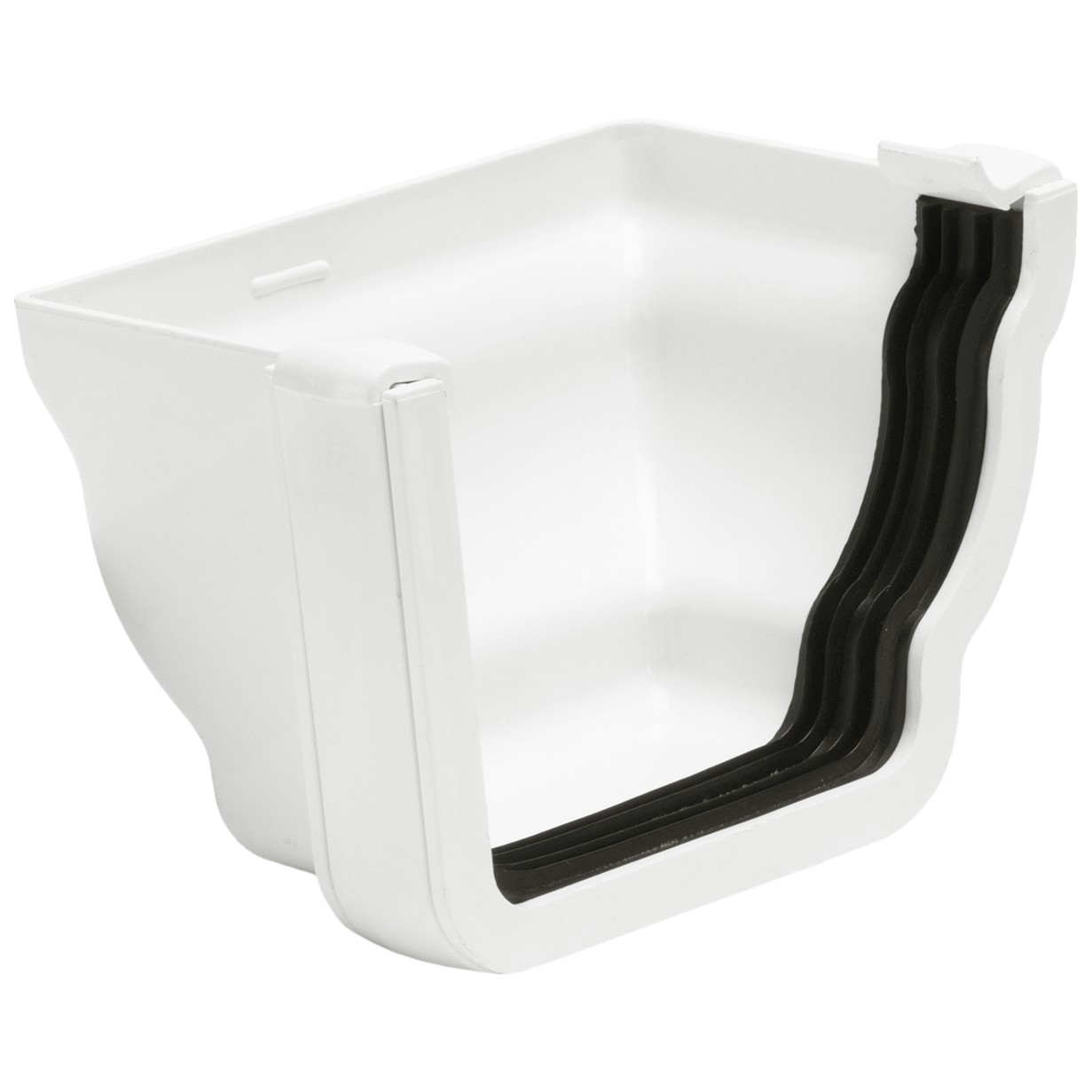 Polypipe 117mm Sovereign High Capacity Profiled External Stop End (Right Hand) - White