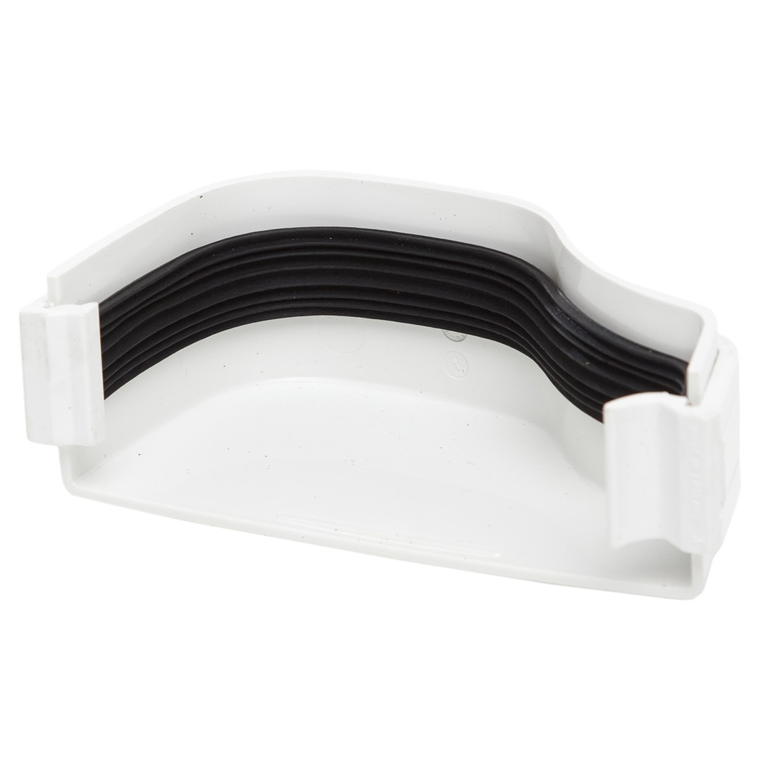 Polypipe 130mm Ogee Extra Capacity Gutter External Stop End (Left Hand) - White