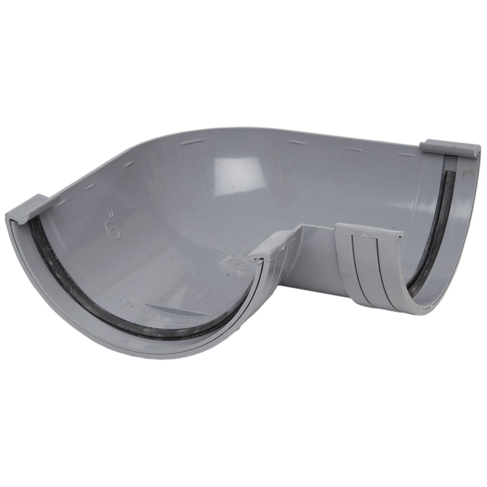 Polypipe 150mm Large Half Round Gutter 90 Degree Angle - Grey