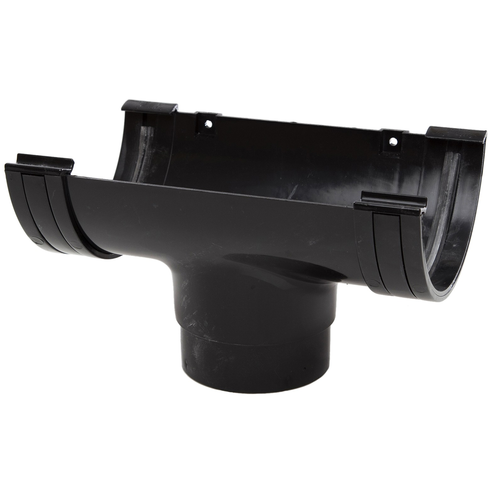 Polypipe 150mm Large Half Round Gutter Running Outlet - Black