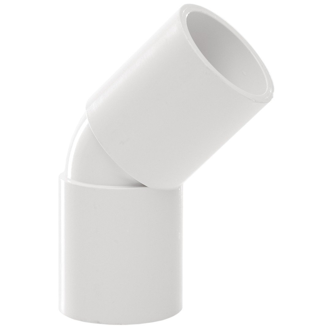 Polypipe 21.5mm Solvent Weld Overflow 45 Degree Bend - White