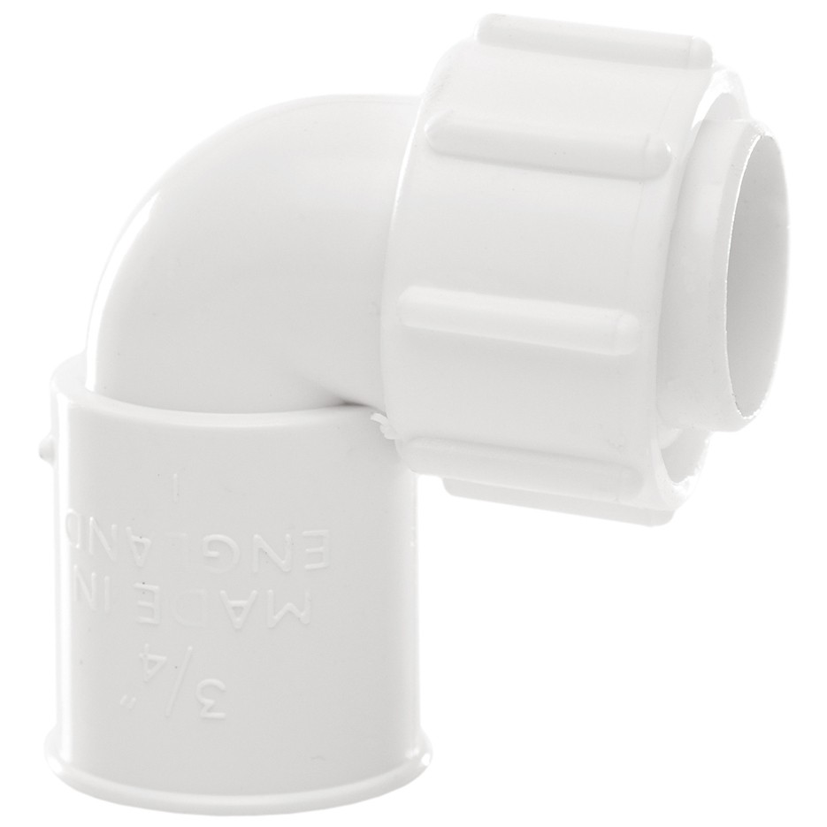 Polypipe 21.5mm Solvent Weld Overflow Bent Adaptor - White