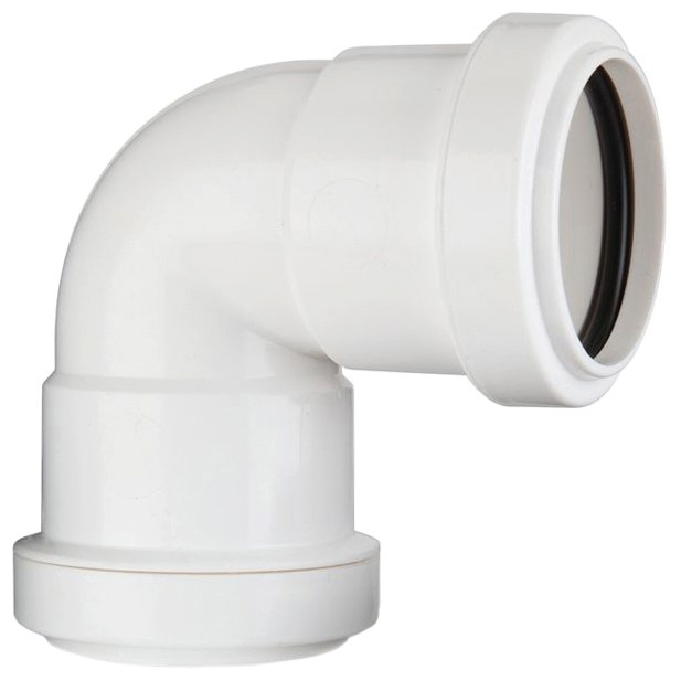 Polypipe 32mm Push Fit Waste 90 Degree Knuckle Bend - White
