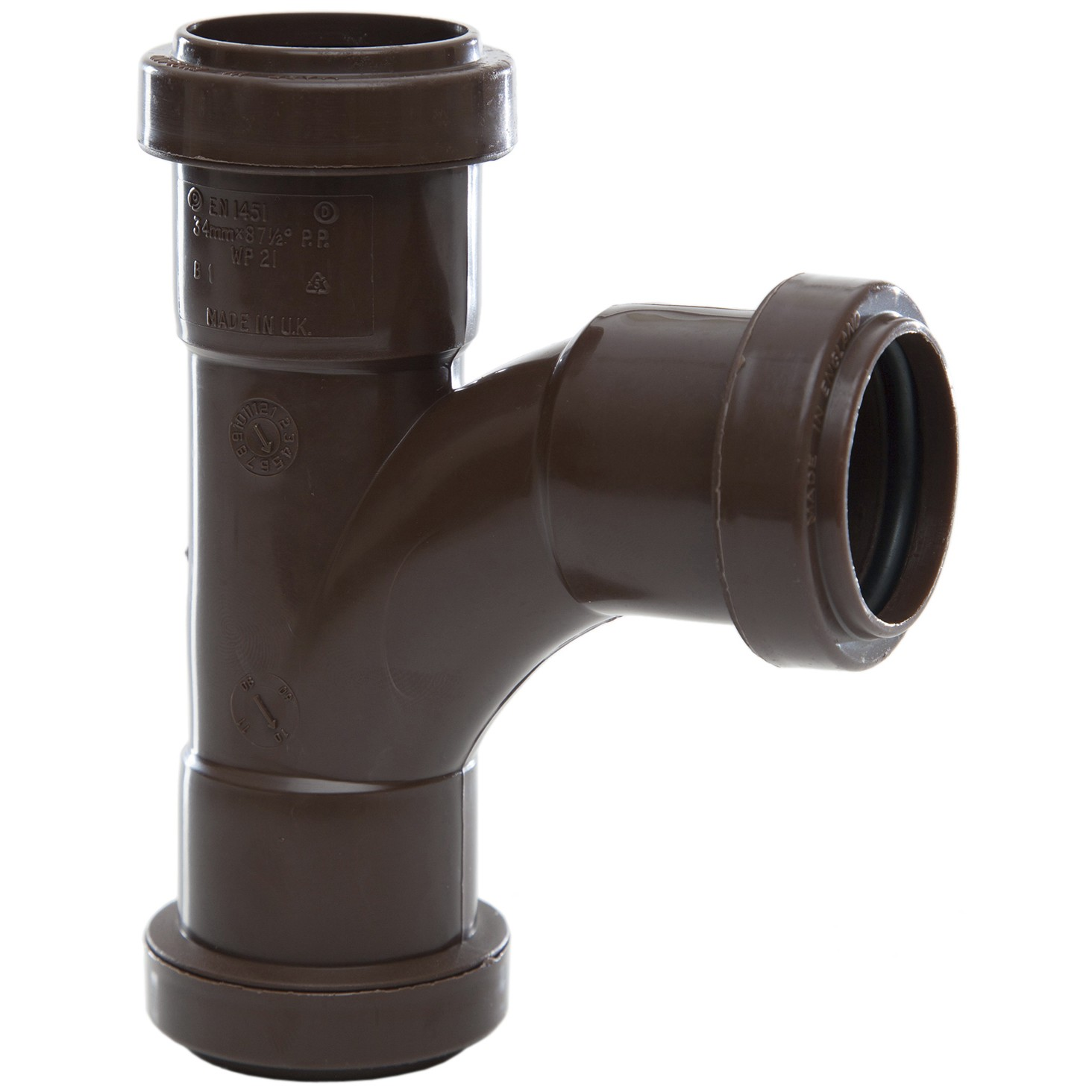 Polypipe 32mm Push Fit Waste 91.25 Degree Swept Tee - Brown