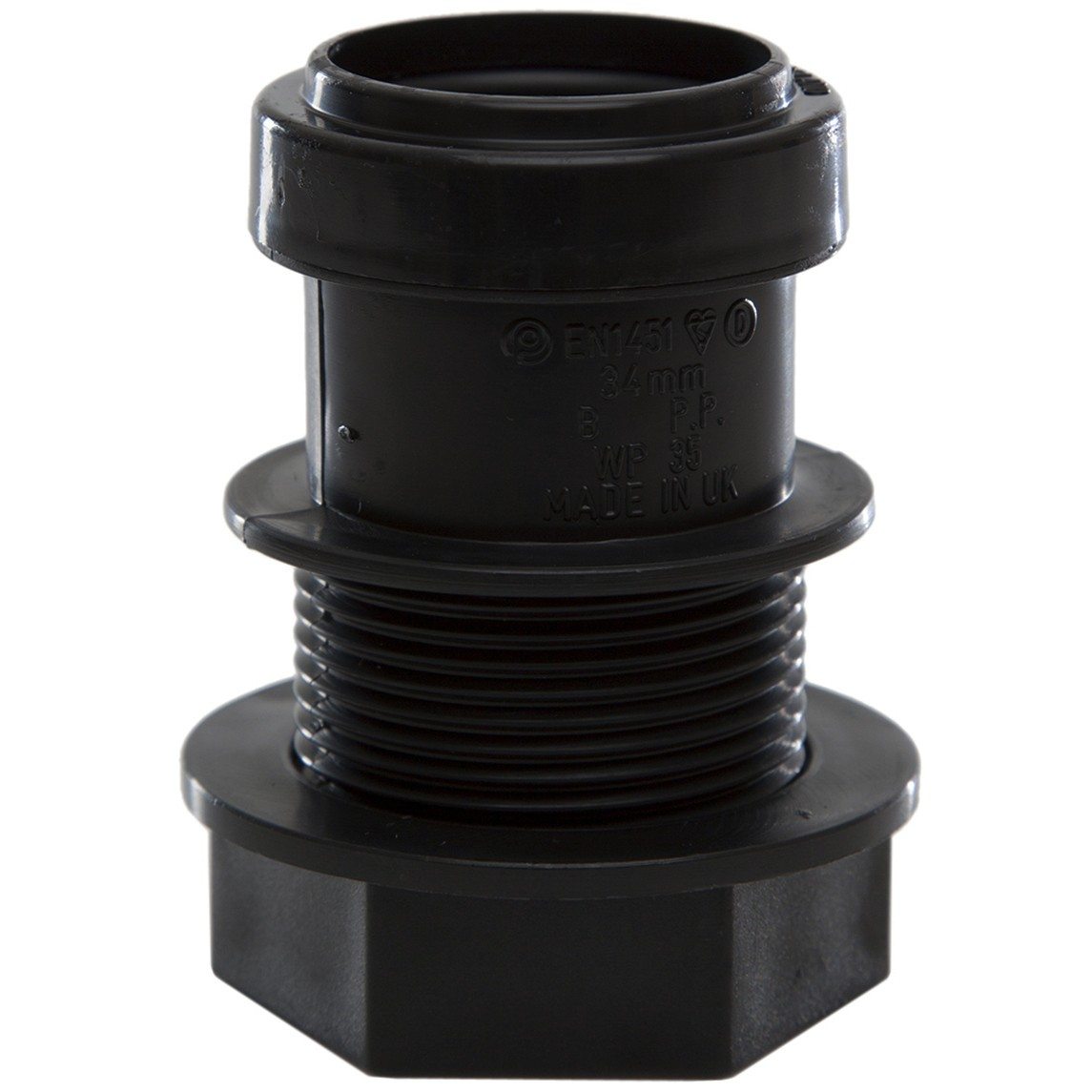 Polypipe 32mm Push Fit Waste Tank Connector - Black