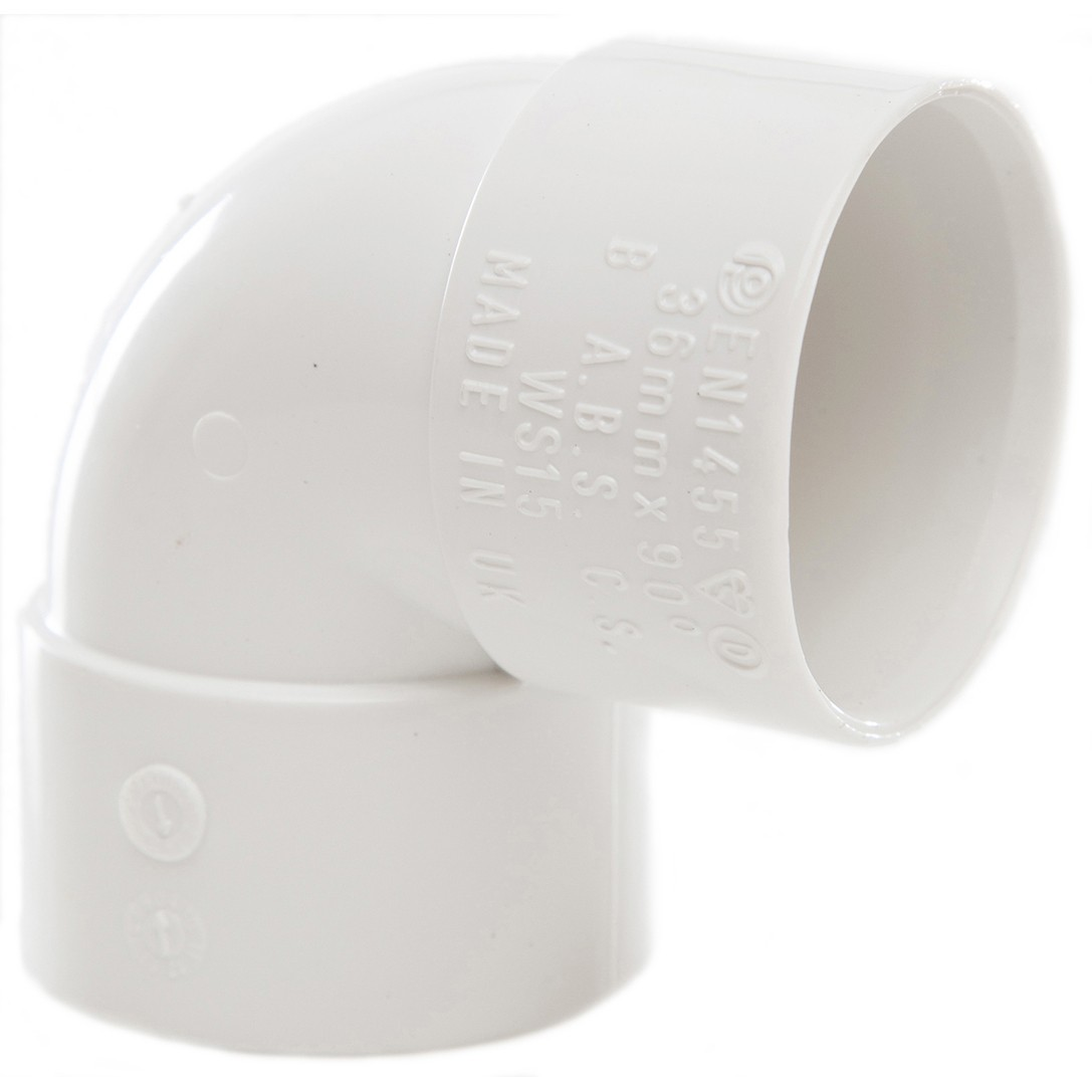 Polypipe 32mm Solvent Weld Waste 90 Degree Knuckle Bend - White