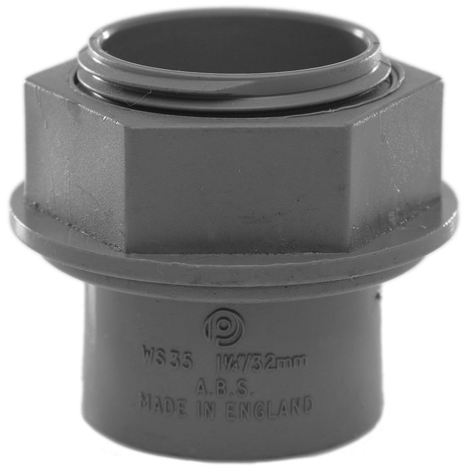 Polypipe 32mm Solvent Weld Waste Tank Connector - Grey