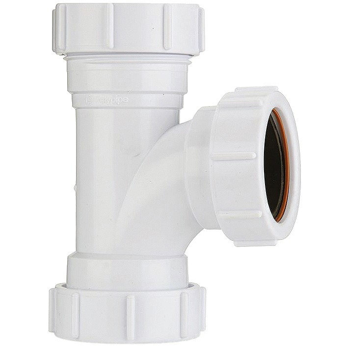 Polypipe 32mm Universal Compression Waste 91.25 Degree Equal Tee - White