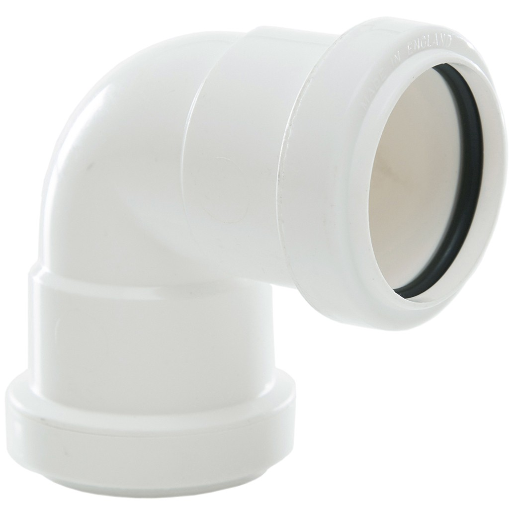 Polypipe 40mm Push Fit Waste 90 Degree Knuckle Bend - White