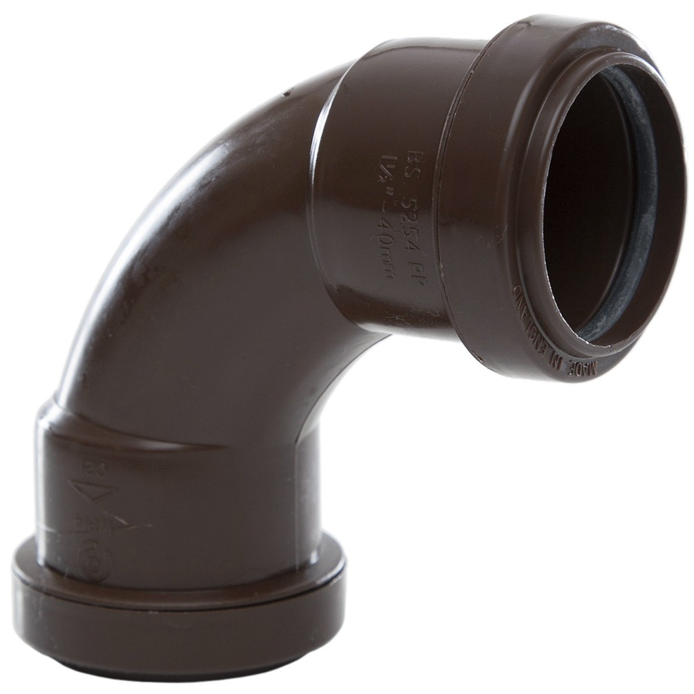 Polypipe 40mm Push Fit Waste 91.25 Degree Swept Bend - Brown