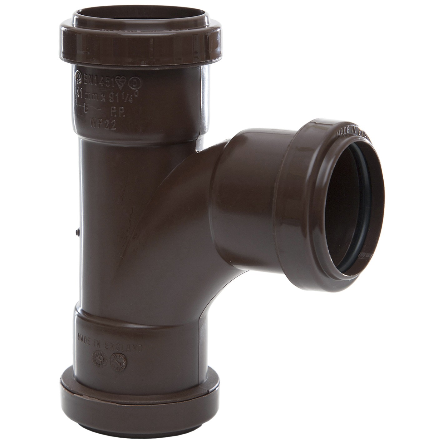 Polypipe 40mm Push Fit Waste 91.25 Degree Swept Tee - Brown