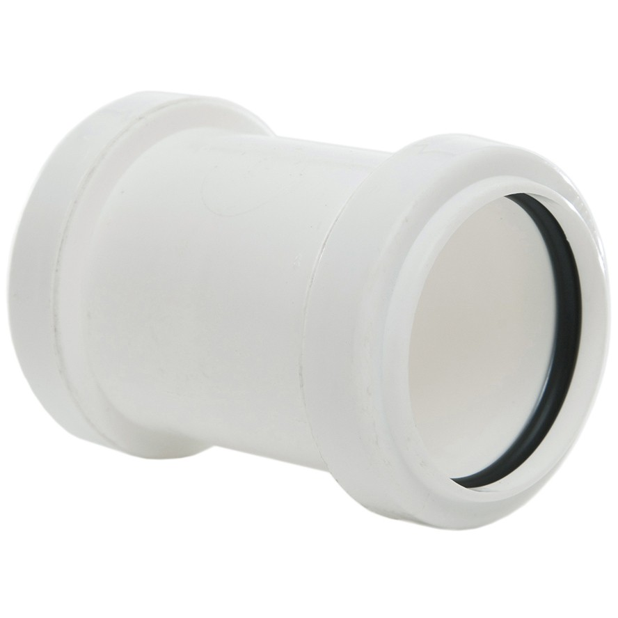Polypipe 40mm Push Fit Waste Straight Coupler - White