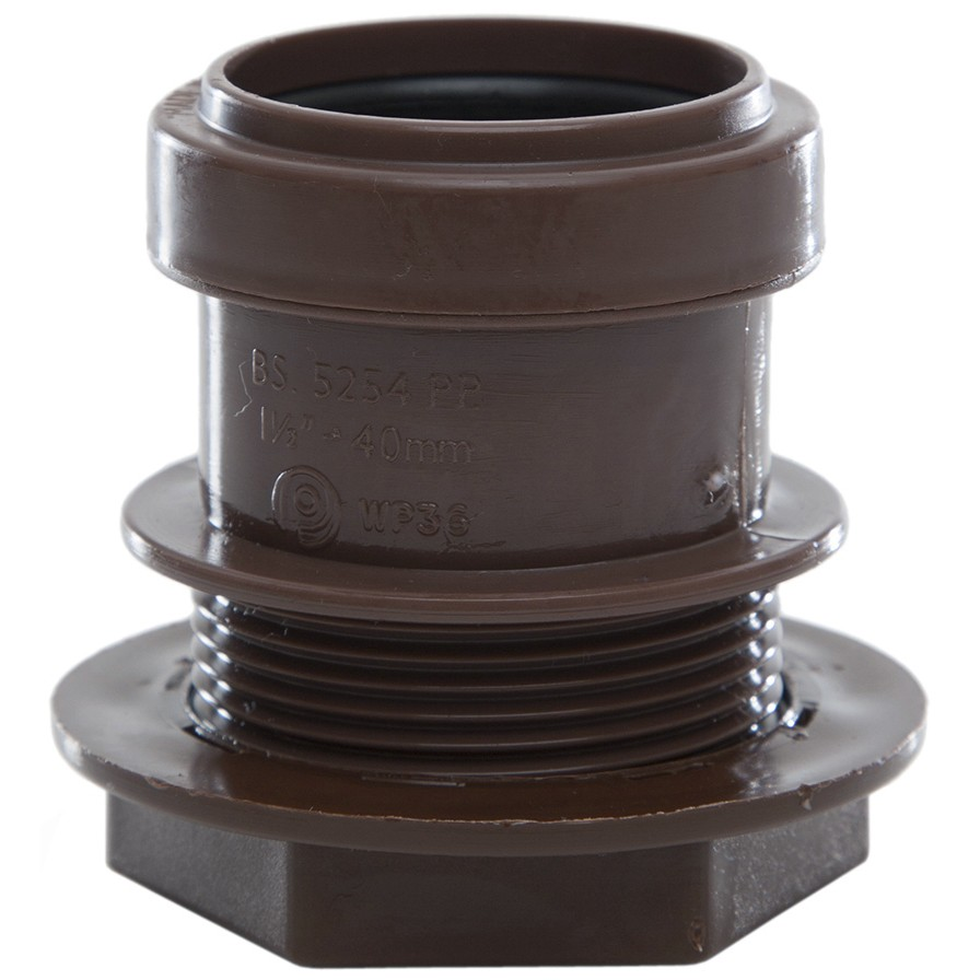 Polypipe 40mm Push Fit Waste Tank Connector - Brown