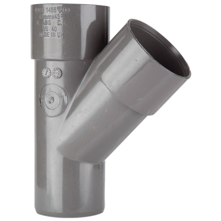 Polypipe 40mm Solvent Weld 45 Degree Junction - Grey