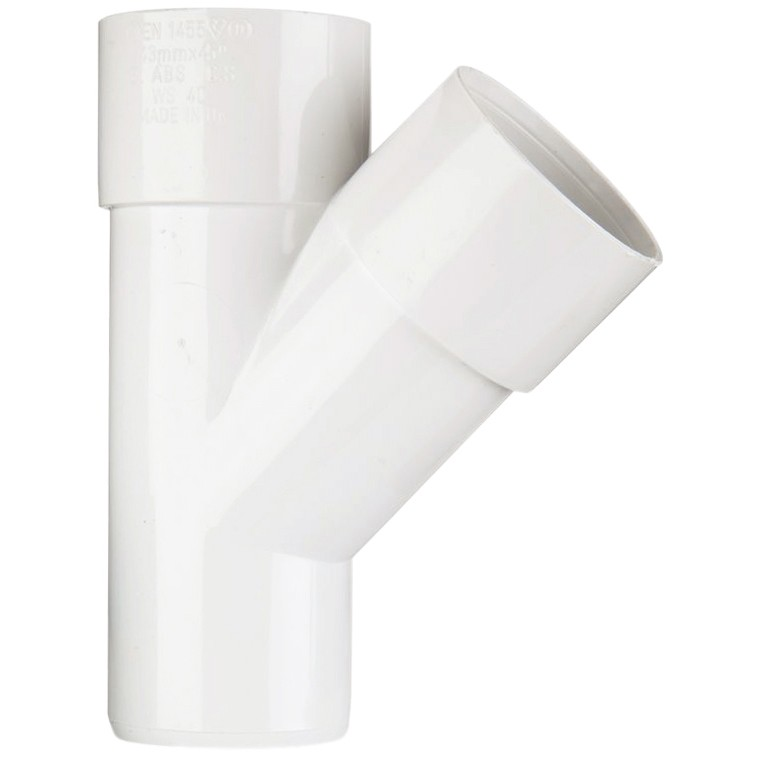 Polypipe 40mm Solvent Weld 45 Degree Junction - White