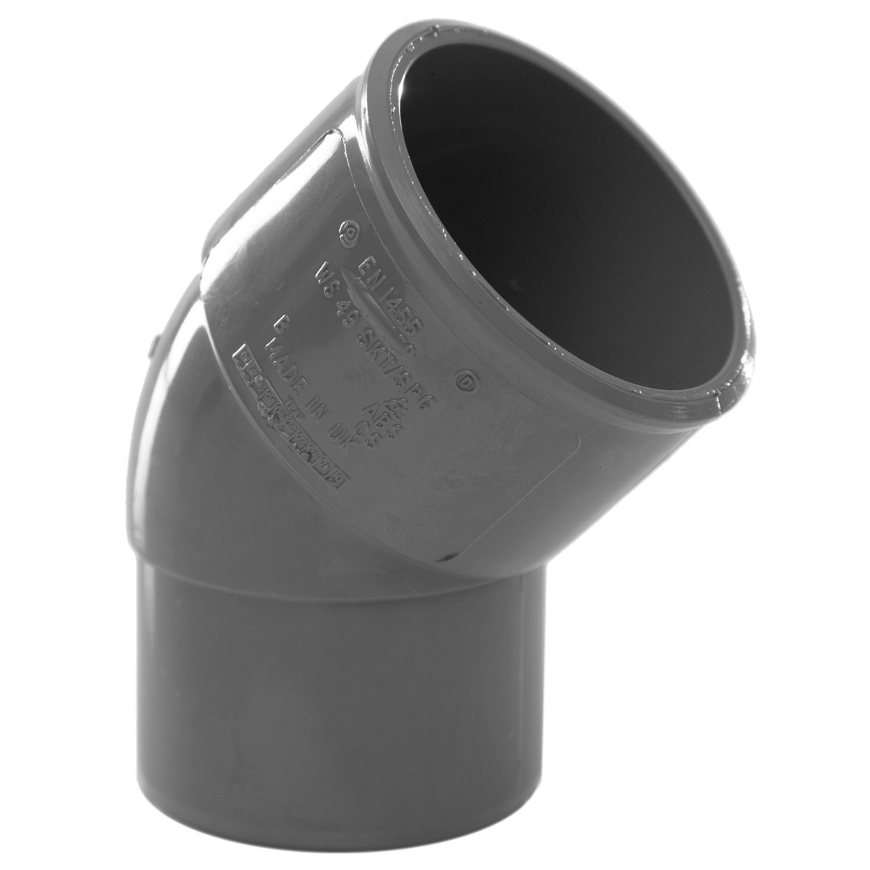 Polypipe 40mm Solvent Weld Waste 45 Degree Spigot Bend - Grey