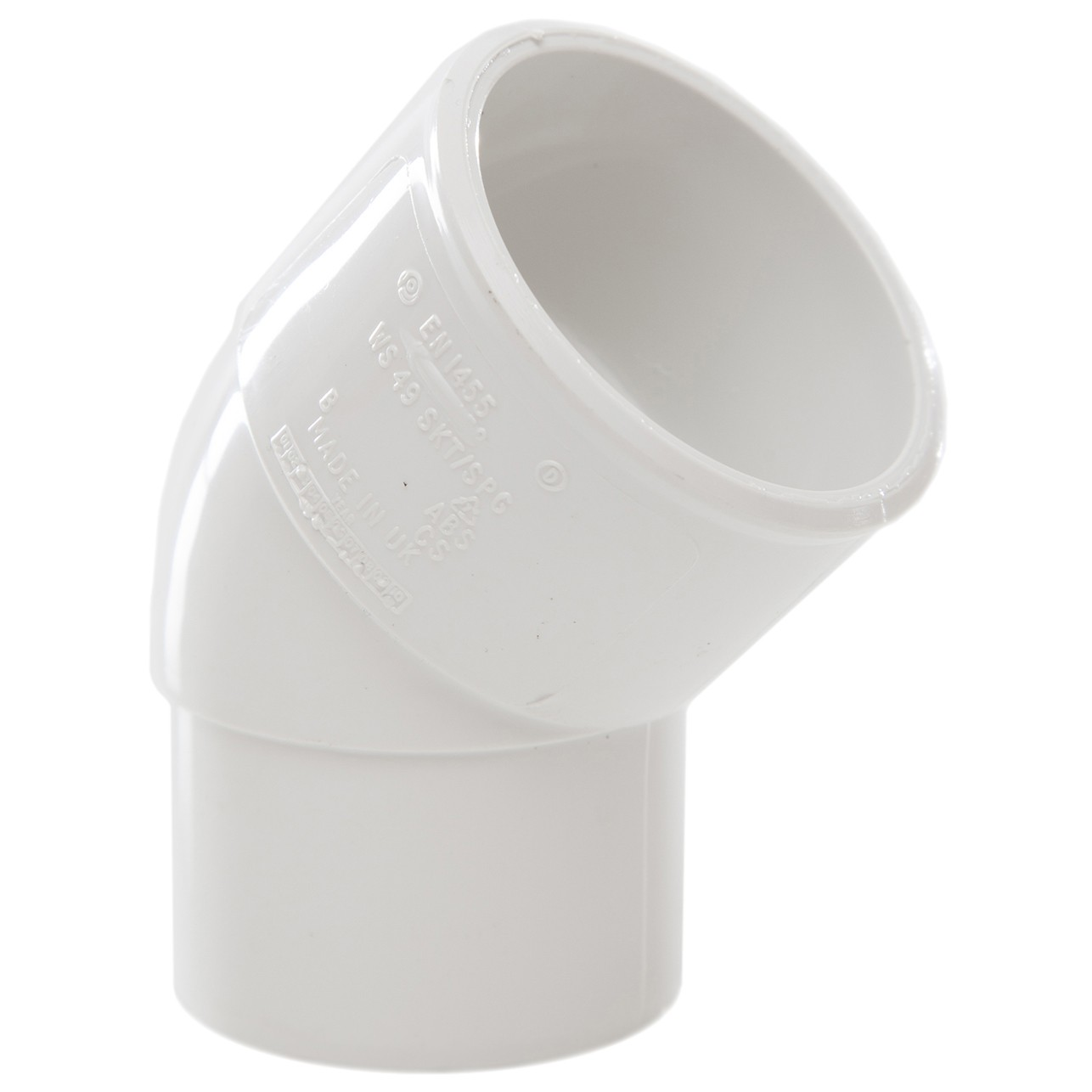 Polypipe 40mm Solvent Weld Waste 45 Degree Spigot Bend - White