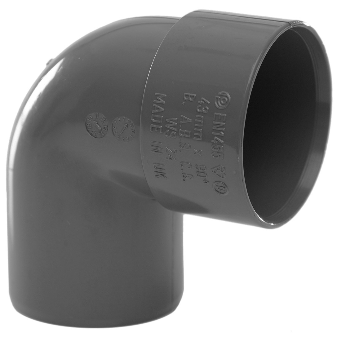 Polypipe 40mm Solvent Weld Waste 92.5 Degree Swivel Bend - Grey