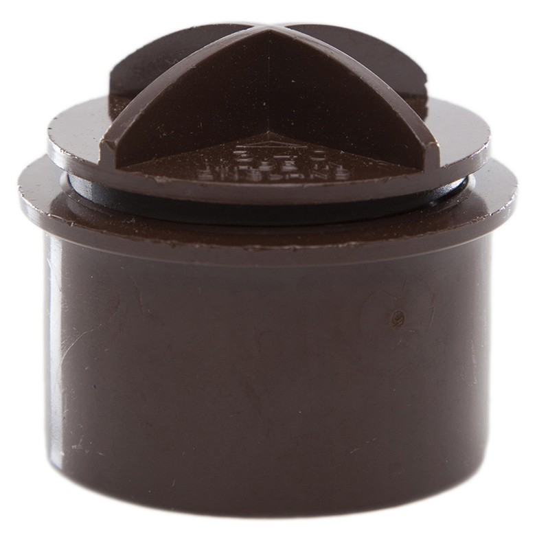 Polypipe 40mm Solvent Weld Waste Screwed Access Plug - Brown