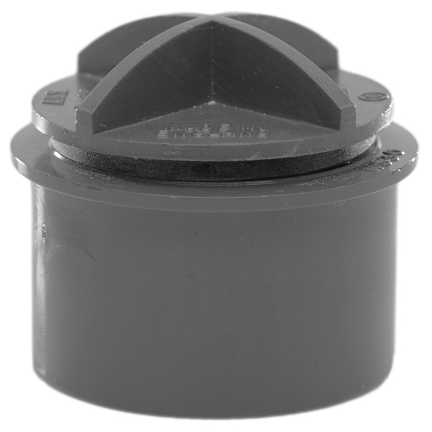 Polypipe 40mm Solvent Weld Waste Screwed Access Plug - Grey