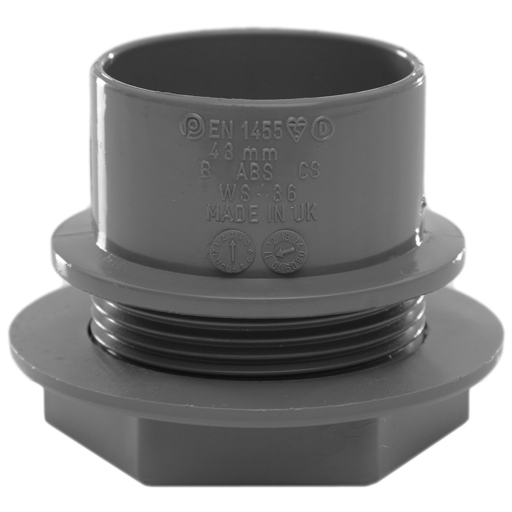 Polypipe 40mm Solvent Weld Waste Tank Connector - Grey