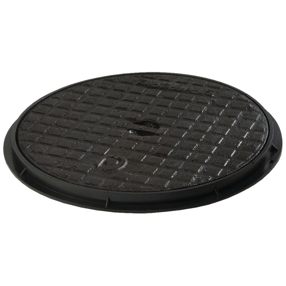 Polypipe 460mm Round Cast Iron Chamber Cover and Frame - Black, 460mm