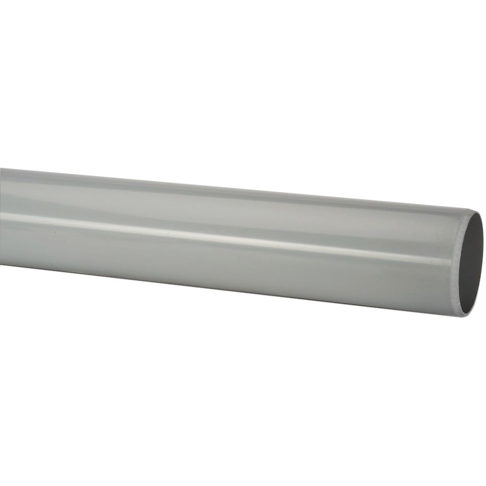 Polypipe 50mm Mini Round Down Pipe - Grey, 2 metre