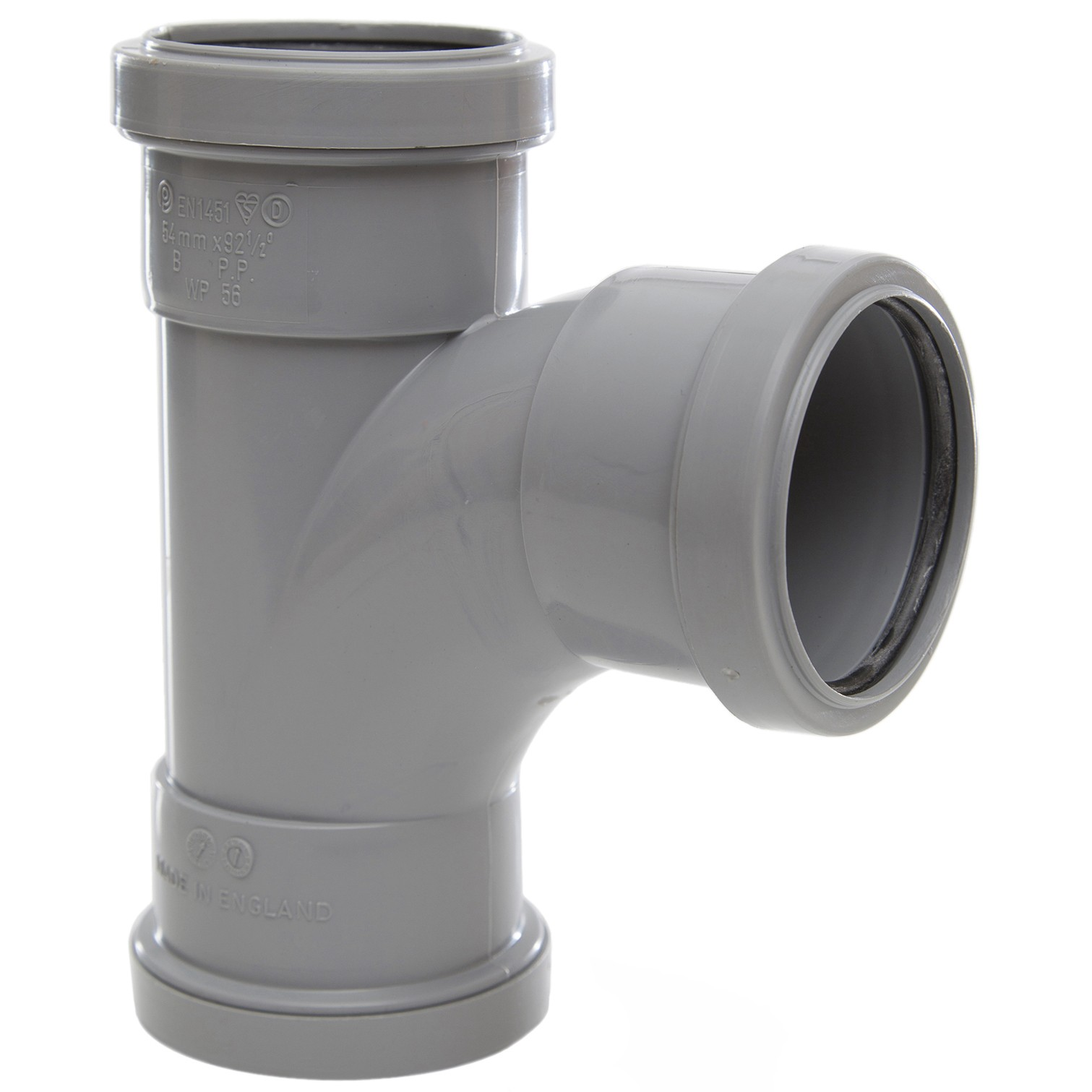 Polypipe 50mm Push Fit Waste 91.25 Degree Swept Tee - Grey