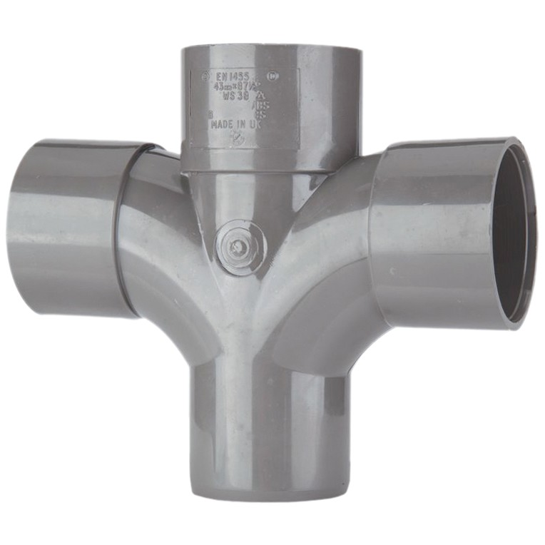 Polypipe 50mm Solvent Weld 92.5 Degree Cross Tee - Grey