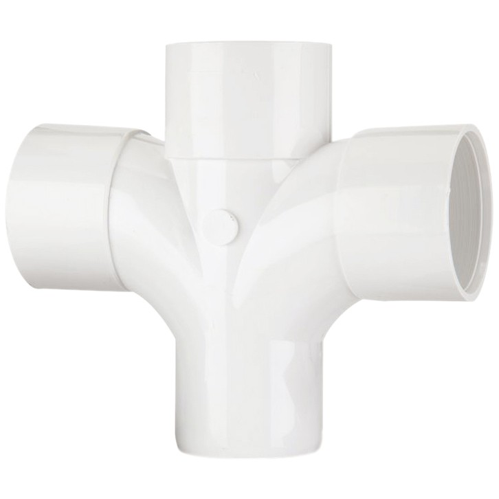 Polypipe 50mm Solvent Weld 92.5 Degree Cross Tee - White